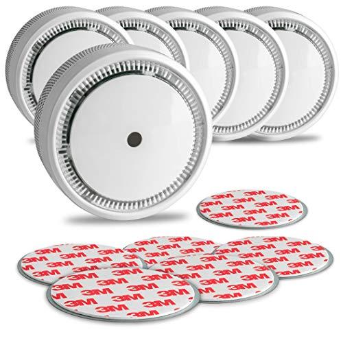 SEBSON 10 Jahres Mini Rauchwarnmelder inkl. Magnetpad, EN 14604 VDs Q-Siegel, fotoelektrischer Rauchmelder Lithium Batterie Stummschaltung Ø72x32mm, 6er Set