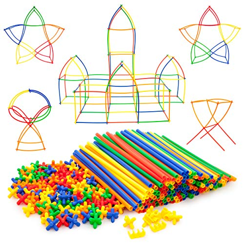 PicassoTiles 400pc Construction Toy Straw Building Set Children STEM Learning Interlocking Building Toys Creative Straw Connecting Builder Kits Early Education Kit for Kids Boys & Girls Ages 3+ PTS400