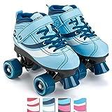 Osprey Patins à roulettes Disco Quad pour Adultes et Enfants, Bottes à roulettes rétro avec roulements ABEC 7, 39-40, Bleu