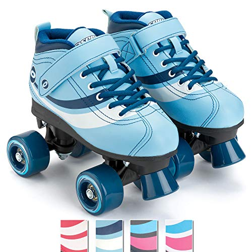 Osprey Disco Quad-Rollschuhe für Kinder und Erwachsene, Retro-Design, blau, UK Adult 5/EU 38