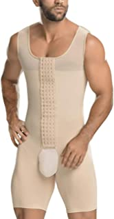 HEXIN Mens Shapewear for Workout Tummy Control Open Crotch Bodysuit Abdomen Compression Bodysuit