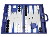 19-inch Premium Backgammon Set - Large Size - Indigo Blue Board