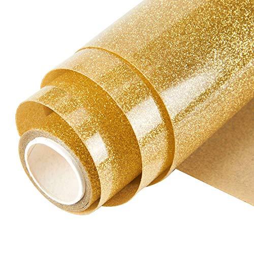 Topmail 160x25cm Glitzer Transferpapier Transferfolie Aufbügeln Textil Folie Wärmeübertragung Folie Vinylfolie für Kleider Textil Gold