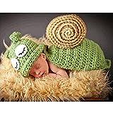 AUTUUCKEE Bebé recién nacido fotografía traje traje caracol verde ojos blancos suave apoyo (verde)