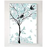 A&D Mintgrün Abstrakter Baum Dekorative Gemälde Modulares Bild Nordischen Stil Wandkunst Leinwand Malerei Wohnzimmer-50x70cmx1pcs-Kein Rahmen