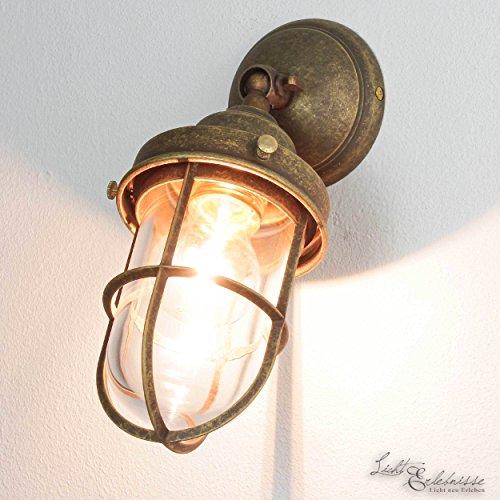 *Außenleuchte Messing Premiumqualität Bronze Antik Glasschirm Handarbeit E27 Wandlampe Außenwandleuchte*