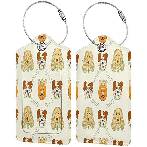 Cachorros Padrao Fundo Luggage Tags Leather Travel Suitcases Id Identifier Baggage Label Card Holder.