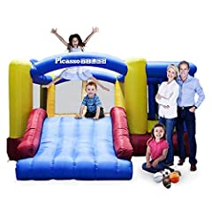 FAST & FRUSTRATION-FREE SETUP - Takes less than 2 minutes to inflate the bouncing house and the jumping bouncers can simply be ready to play in 3 quick steps: unroll the bounce house, hook the inflation tube to the blower, stake it down to secure it ...