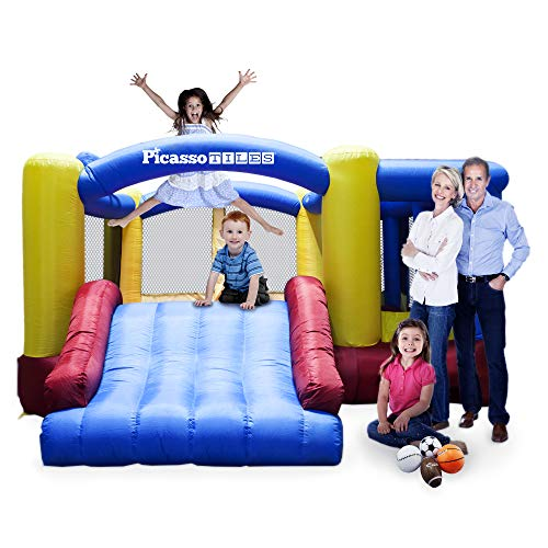 PicassoTiles KC102 12x10 Foot Inflatable Bouncer Jumping Bouncing House, Jump Slide and Dunk Playhouse Featuring Basketball Dunking Rim, 4 Sports Balls, Extended Slider, Full Size Entry, Quick Setup