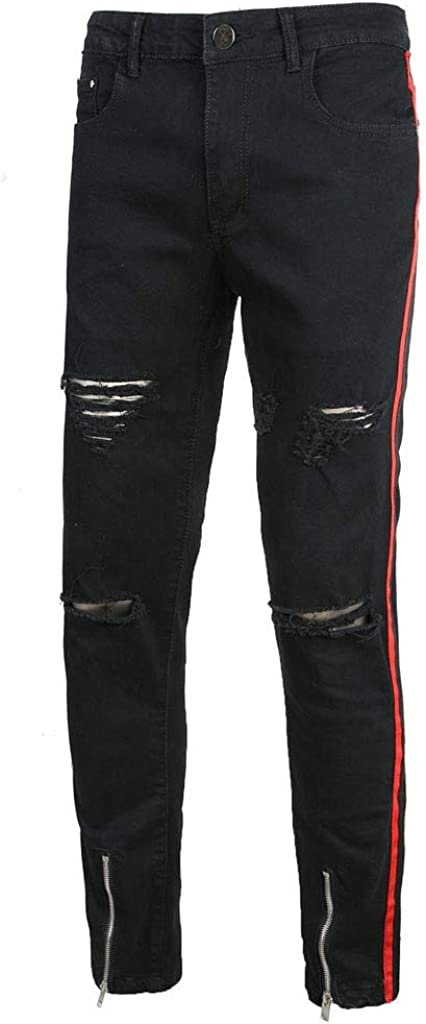 IHGTZS Pants for Men, Mens Fashion Black Zipper Stretch Denim Pants Slim Fit Jeans Trousers