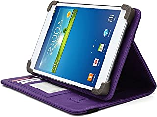 Vulcan Journey 7 Inch Tablet Case, UniGrip PRO Series - PURPLE - By Cush Cases (Case Features Top Quality PU Leather with Bulit In Stand, Hand Strap, 3 Card Slots and SIM Card Holder)