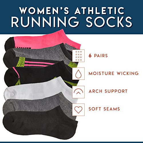 Silky Toes Athletic Socks 6 Pack - Black Women's No Show, Low Cut Sock