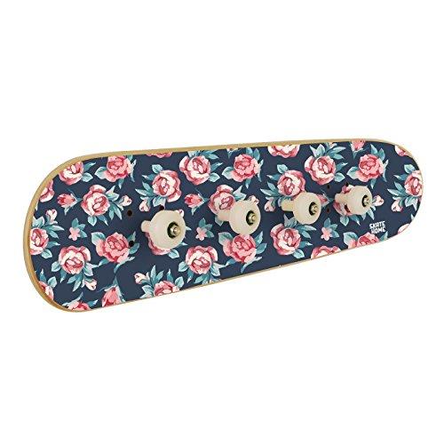Pequeñas Rosas, romántico perchero de Skate-Home. Perchero de pared de 4 ganchos. Incluye tornillos y Anclajes. impresión Digital HD