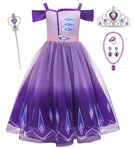 O.AMBW Disfraz de Princesa Morada Vestido Princesas Anna Elsa Rapunzel Sofa Escote de Barco Cosplay Carnaval Disfraz de Halloween con 5 Accesorios para nias