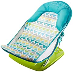 3-position recline for child's comfort For use in the sink or adult bath tub Head support cradles baby's head Folds compact for storage and travel Machine washable fabric
