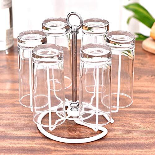 Soporte para secado de tazas, portavasos de escritorio de material de hierro, versátil para el hogar(white)