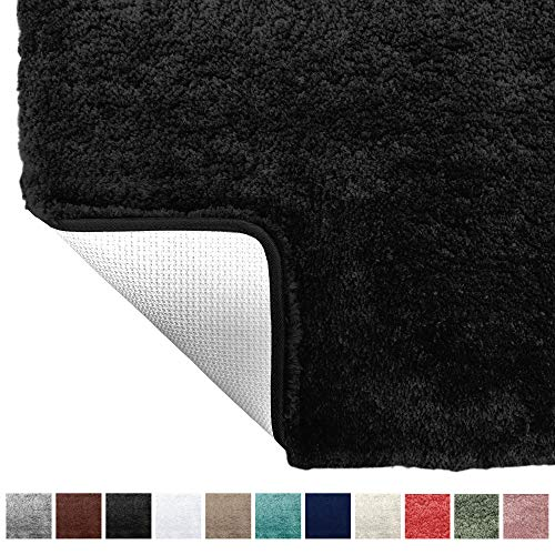 Gorilla Grip Original Premium Luxury Bath Rug, 24x17 Inch, Incredibly Soft, Thick, Absorbent Bathroom Mat Rugs, Machine Wash and Dry, Plush Carpet Mats for Bath Room, Shower, Hot Tub, Spa, Black