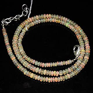 "Jewel Beads Natural Beautiful jewellery Ethiopian Fire Welo Opal Smooth Rondelle Beads Necklace 16"" 3mm 4mmCode:- JBB-47506"