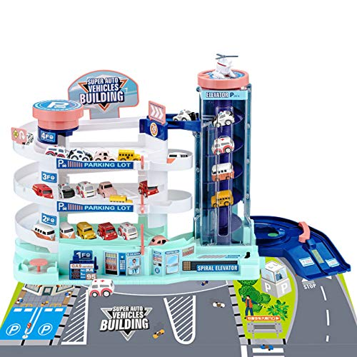 Powerextra 4-Level Car Parking Garage Toy, Ramp Racer Car Games, Race Track Elevator Cars, Garage Building Playset Parking Lot, Indoor Games Family for Age 3 4 5 6 Years Old Kids Boys Girls