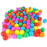Petyoung 100 Piezas de Bolas de Plástico de Bolas de Plástico de Colores Divertidos en Una Bolsa de Malla de Almacenamiento Reutilizable Y Duradera para Bebés Carpa Juguetes de Natación Pelota
