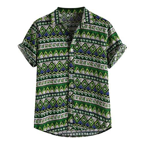 WINJIN Chemise Hawaïenne Homme Haut Casual Vintage T-Shirt Pas Cher Top Imprimé Plante Tropicale Chemise Plage Blouse Palmier Tunique Homme Slim Fit Haut Chic Chemise Manches Courtes Boho