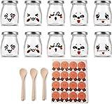 Supremery Vasos para yogur (10 unidades, con tapa de rosca, para entrantes y postres, ideal para presentar alimentos, 100 ml, con 3 cucharas) Tarros de yogur Thermomix TM6 TM5