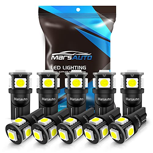 Marsauto 194 LED Light Bulbs, 6000k Super Bright T10 168 2825 5SMD Replacement...