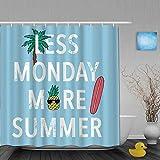 NISENASU Imperméable Rideau de Douche,Less Monday More Summer Pineapple Palm - Lunettes de Soleil pour Planche de Surf,ImperméableSalle de Bain avec Crochets,180 x 180 cm