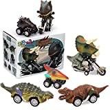 Gifts2U Dinosaur Toy Pull Back Cars for 3-6 Year Old Boys, Pull Back Dinosaur Cars Friction Powered Motorcycle Game 6pcs Realistic Dinosaur Figures Car T-rex Mini Monster Truck