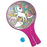 Mondo Toys - Unicorn Glitter - 2 Racchette in plastica / pallina di gomma - Gioco da Spiaggia per Bambini e Adulti -15040