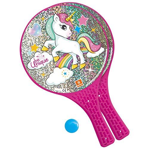 Mondo Toys – Unicorn Glitter – 2 Raquetas de plástico/Bola de Goma – Juego de Playa para niños y adultos-15040 (15040)
