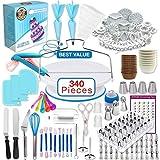 Decoración de Pasteles 340 Piezas, Plato Giratorio para Pasteles, 120 Moldes para Tazas de Muffins para Principiantes y Amantes de Pasteles(1 delantal)