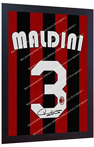 SGH SERVICES New Paolo Maldini Autogramm Mailand Leinwanddruck, mit Autogramm, gerahmt, 100% Baumwolle