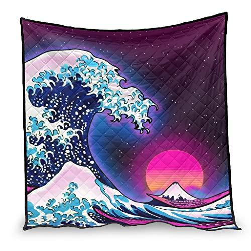 Dessionop Ukiyoe - Sofá geométrico con diseño de olas grandes, para todo el año, 150 x 200 cm, color blanco