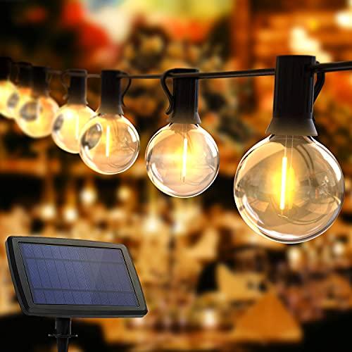 Guirnaldas Luces Exterior Solar, TOGAVE Cadena Luces con 10+1 G40 LED Bombillas IP65 Impermeable, 4 Modos de Luz Cadena de Luces Decorativas para Jardín, Terraza, Navidad, Fiesta- Blanco Cálido