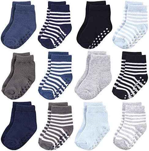 Touched by Nature Baby Organic Cotton Socks with Non Skid Gripper for Fall Resistance Blue 2 product image