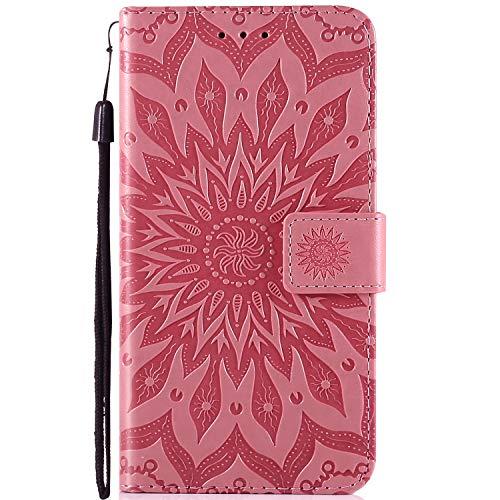 Robinsoni Estuche Compatible con Huawei P8, PU Funda de Cuero con Estilo de Libro Cubierta Impreso 3D Funda Magnética para Teléfono de Huawei P8, Rosa