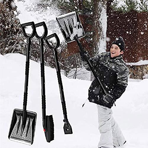 MHCYKJ 3-in-1-Schneebürsten-Kit, Raspador de Hielo + Cepillo de Nieve + Oleaje de Nieve, zusammenklappbare Schneebürste mit Eisschaber und Schneeschaufel, Notaufnahme des Schnee-Sets,