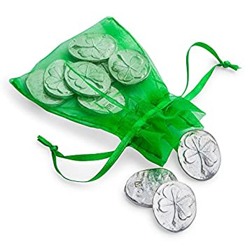 DANFORTH - Vilmain Four Leaf Clover Pocket Tokens/Coins Good Luck Charm Pewter Made in USA Gift Bag  Pack of 10