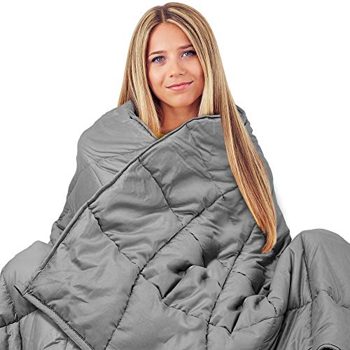 Weighted Blanket 15 pounds - Weighted Blanket with Glass Beads Grey Heavy Blanket for Adults and Kids