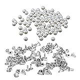 HEALLILY 100 Piezas Perlas Remache Perlas de Imitación Remaches Tachuelas Botones para Manualidades Jeans Bolsos Ropa Decoración (8 Mm)
