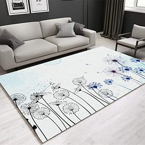 Alfombra Interior Exterior Balcón Resistente Intemperie - Alfombra de Interior Moderno Simple Diente de león Fresco Hermoso Creativo Blanco y Negro Resistente al Desgaste-El 140x200cm