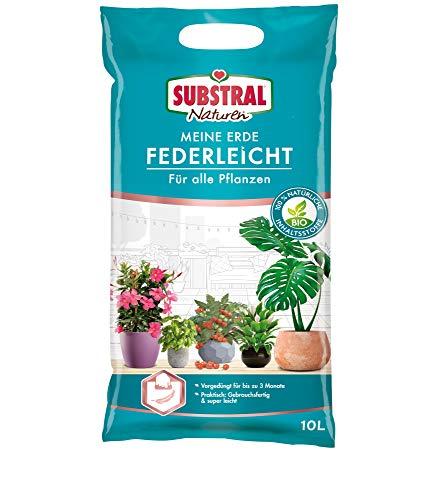 Substral Naturen Meine Erde Federleicht, mit organischem Dünger für 3 Monate, für Grün-, Blühpflanzen, Obst und Gemüse, 10 Liter