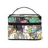 Geisha japonesa bolsa de cosméticos, bolsa de maquillaje, bolsa de viaje portátil para mujeres, organizador de maquillaje con cremallera