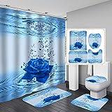 Fashion_Man 16PCS/Set Elegant Teal Blue Rose Shower Curtain, Creative Art Flower Bathroom Set, Waterproof Fabric Cloth Polyester Bath Curtain, Non-slip Bathroom Rugs Bath Mat Toilet Rug, Rose in Water