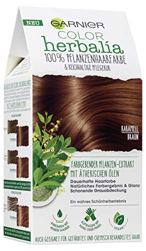 Garnier Color Herbalia - Tinte de pelo vegetal, color marrón caramelo, 100% vegetal, 3 unidades