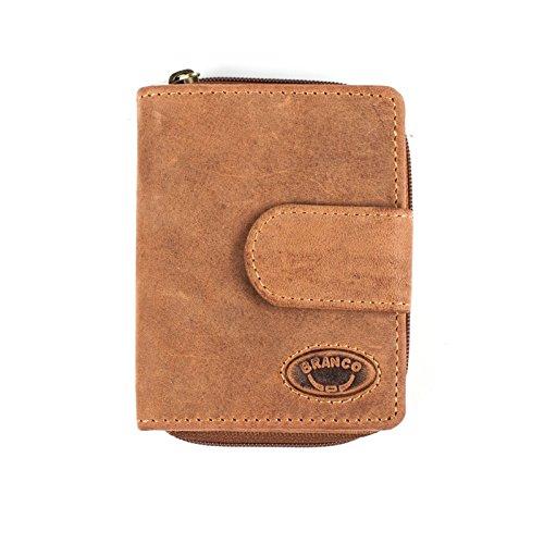 Kleine Geldbörse Portemonnaie kleinformat* Leder in Braun und Rust - Rauleder Geldbeutel * (Rust)
