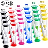 24 Pieces Sand Timer Plastic Sandglass Timer Colorful Hourglass...