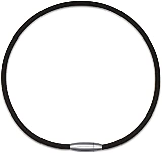 Embolden Jewelry Power/Energy Necklace [Black] for Sports [Titanium ION Edition] - Thick Silicone/Rubber Cord and [Magnetic Clasp] for Softball, Baseball, Health Benefits [for Men & Boys]