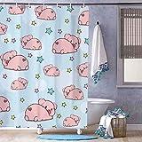 Badewannenvorhang mit Haken, 182,9 cm lang, niedliches lustiges Schwein, buntes Sternenmuster, Duschvorhang für Badezimmer, Dusche, Stall & Badewanne, maschinenwaschbar